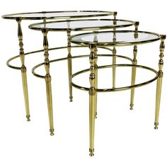 Set of Three Brass Oval Chiavari Nesting Tables   From a unique collection of antique and modern nesting tables and stacking tables at https://www.1stdibs.com/furniture/tables/nesting-tables-stacking-tables/