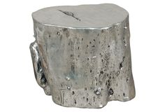 "Silver Resin Log Stool, Large  PHILLIPS COLLECTION  20""W x 18""D x 17""H  $369.00  655.00 Retail"