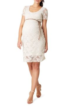 8aeda95d8bc Ivory Lace Rosette Overlay Fitted Dress