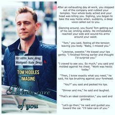 """Kate_Drag on Instagram: """"""""I'LL TAKE CARE OF YOU"""" 💕💕 I noticed that you particularly enjoy imagines with Tom so I'm going to post more! 💜💜 Enjoy this one and get…"""" The Way Home, Tom Hiddleston, Take Care Of Yourself, You And I, The Voice, Toms, Instagram, You And Me"""