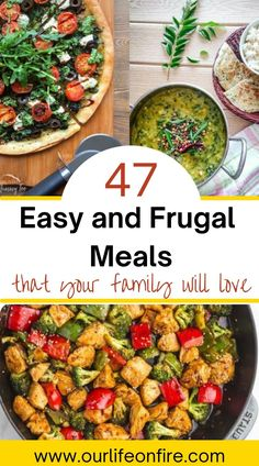 Need to get the meal on the table quickly but don't know what to make? Want to decrease the dinner time stress? Are you ready to start Meal Planning & Meal Prepping but don't know where to start? This list of 47 delicious frugal recipes use pantry staples andsimple ingredients, and are quick and easy to make. Learn how to cook well on a budget without sacrificing flavor or your time. #budgetfriendlyrecipes #cheaphealthymeals #easydinnerrecipes #quickdinnerideas #budgetmeals #frugalmealplan Cheap Meals, Frugal Meals, Budget Meals, Gluten Free Recipes For Dinner, Easy Dinner Recipes, Great Recipes, Easy Homemade Recipes, Entree Recipes, Tight Budget