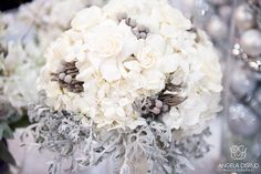White Winter Wedding Nashville | White Bridal Bouquet by the Enchanted Florist, Photo by Angela Disrud Photography