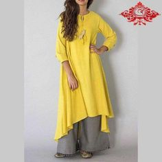Yellow Chidiya Tassel Khadi Kurta with Grey Palazzo - Set of 2 – The Loom Indian Attire, Indian Wear, Indian Dresses, Indian Outfits, Pakistani Outfits, Khadi Kurta, Modest Fashion, Fashion Outfits, Fasion