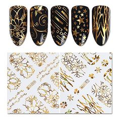 NICOLE DIARY 8 Sheets Holographic 3D Nail Sticker Gold Flower Star Circle Butterfly Adhesive Holo Nail Foil 3D Decal Manicure Nail Art Decoration 8 patterns * Want to know more, click on the image. (This is an affiliate link) #NailArtEquipment