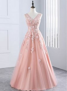 Pink V Neck Tulle Lace Long Prom Dress, Pink Evening Dress,Evening Dresses,Long Prom Dresses, Formal Evening Gown V Neck Prom Dresses, Pink Prom Dresses, Tulle Prom Dress, Event Dresses, Lace Dress, Tulle Lace, Pink Tulle, Party Dresses, Gown Dress