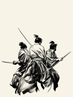 Three Outlaw Samurai Cover Comic Art. Character Drawing / Illustration .