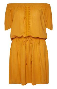 Primark - Mustard Crochet Cold Shoulder Dress