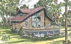 Sylvan - A-Frame House Plans - Cabin - Vacation A Frame House Plans, Cabin House Plans, Log Cabin Homes, Best House Plans, House Floor Plans, Log Cabins, Vaulted Living Rooms, Log Home Plans, Monster House Plans