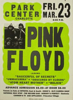 Pink Floyd: Saw them my first time in'68 when I was 14 in a former church in Sacramento complete with a great light show and tape loops on mic stands. I believe their first tour without Sid; Dave Gilmour was new.