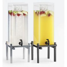 One by One Acrylic Beverage Dispensers Item: Ice Chamber 1132-1(10.25Wx10.25Dx17.75H) 1132-3 (10.25Wx10.25Dx25.5H) 1132-5 (11.75Wx11.75Dx29H) Infusion Chamber 1132-1INF (10.25Wx10.25Dx17.75H) 1132-3INF (10.25Wx10.25Dx25.5H) 1132-5INF (11.75Wx11.75Dx29H) The iced beverage dispenser is  the perfect solution for the problem of beverages being diluted by ice. The separate ice chamber keeps beverages cold while maintaining the refreshing taste that is desired for any occasion.