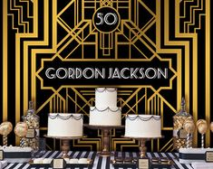 Great Gatsby Backdrop | Adults Party Banner | Poster | Signage | Personalised | Printable ONLY | Birthday Backdrop