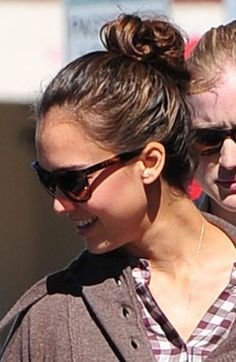 Jessica Albas casual, updo hairstyle