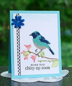 """""""Bird and Branch"""" from Hero Arts. Color-Layering stamps - chirp up soon card"""