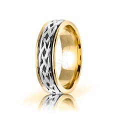 Two Tone 10k Yellow-white-yellow Gold Celtic Infinity Knot Wedding Band Polish 6.5mm 01669