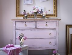 shabby chic pale pink white and gold dresser painted with eco-friendly DIY furniture paint, furniture wax, and gold metallic cream by Country Chic Paint Shabby Chic Dresser, Redo Furniture, Painted Furniture, Thrift Store Furniture, Shabby Chic Pink, White And Gold Dresser, Country Chic Paint, Furniture Inspiration, Furniture Makeover