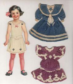 DENNISON Jointed Paper Doll & 5 Handmade Dresses 1 Hat (06/16/2011)