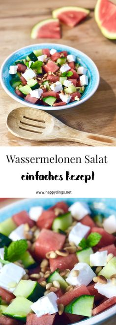 Make watermelons salad yourself - recipes for the summer - Gesunde Rezepte - Salat Watermelon Smoothies, Watermelon And Feta, Low Carb Smoothies, Smoothie Recipes, Eggplant Dishes, Iron Rich Foods, Meal Replacement Smoothies, Ice Cream Party, Feta Salad