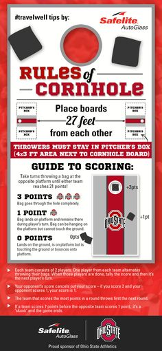 Every tailgating pro should know the rules of cornhole, a great outdoor game to play with the whole family! Safelite shares how to play in this infographic. Diy Yard Games, Lawn Games, Backyard Games, Family Fun Games, Family Game Night, Games For Kids, Cornhole Rules, Diy Cornhole Boards, Fun Card Games