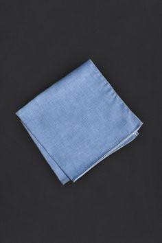 Light Blue Herringbone Pocket Square