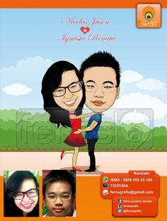 #caricature #caricatures #toon #drawing #vector #paint #digital #karikatur #wedding #couple #love #indonesian #garden #park