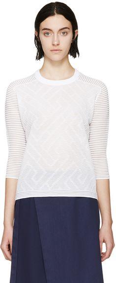 Kenzo: White Ribbed Sheer Ottoman Sweatshirt