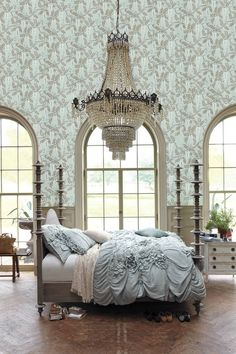IThis bedroom  - AWE Inspring -  the bedding - wallpaper - chandalier - windows - all gOrGeOuS