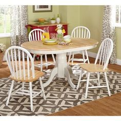 """Simple Living Farmhouse 5-piece White/ Natural Dining Set; 69"""" L x 35"""" W with leaf  On sale for $422"""