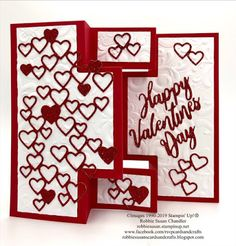 This is a shutter-style card made with Stampin' Up!s Detailed Hearts Dies and Well Written dies. The Parisian Flourish embossing folder adds an elegant background. Red Glimmer paper makes the hearts pop! Valentine Love Cards, Christmas Cards To Make, Valentines, Fun Fold Cards, Folded Cards, Valentine's Day, Shaker Cards, Heart Cards, Kids Cards