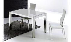 Mesa de cristal blanco y acero inoxidable extensible 130x80x75