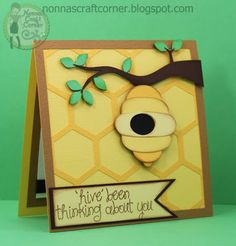 """I used the """"Honeycomb Shapes"""" and """"Honey Bees"""" files from Pretty Paper, Pretty Ribbons to create this card"""