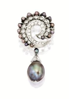 PLATINUM PEARL CARTIER | Natural Pearl, Seed Pearl and Diamond Brooch by leila