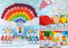 RAINBOW Party Package Decoration Set  by GwynnWassonDesigns, $27.00