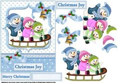 a decoupage sheet for Christmas which has three very happy looking young snow…