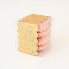 Gold Glitter Scallop Band Wrap & 2x2x2 Clear Favor by TableauParty  Need silver or champagne glitter!