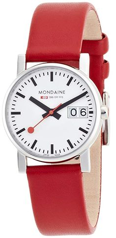 a0f8df9d0f1 Mondaine Women s Quartz Watch with White Dial Analogue Display and Red  Leather Strap A669.30305.11