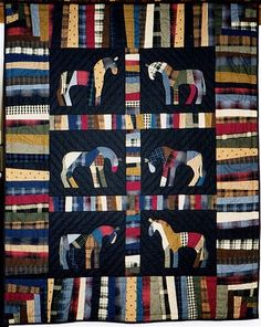 Oh my goodness.isnt this a delightful scrappy! ultrasuede ears and floss tails Made by Daffy Daphne of Quilting Board Western Quilts, Cowboy Quilt, Horse Quilt, Plaid Quilt, String Quilts, Quilting Designs, Quilting Ideas, Animal Quilts, Shirt Quilt