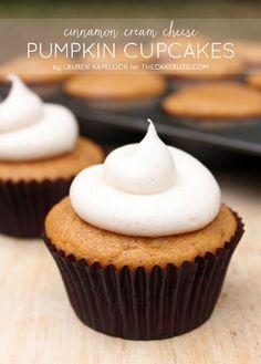 {it's pumpkin season!} Pumpkin cupcakes with cinnamon cream cheese frosting | by Lauren Kapeluck | TheCakeBlog.com