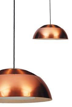 Arne Jacobsen, copper suspension lamp for Louis Poulsen 1958 Home Lighting, Lighting Design, Pendant Lighting, Pendant Lamps, Interior Lighting, Modern Lighting, Lighting Ideas, Arne Jacobsen, Luz Artificial