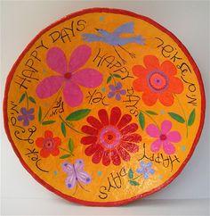 Happy days big plate-paper mache\35cm wide