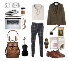 Slytherin - Classic School Look by realslytherinpride on Polyvore featuring MANGO MAN, Vivienne Westwood Man, Vivienne Westwood, Coach, Master & Dynamic, Garrett Leight, Aubin & Wills, Pikolinos, CO and men's fashion