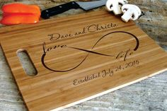 Personalized Chopping Board Wedding Cutting Board Infinity Sign Engraved Customized Wedding Gift Annivesary Gift