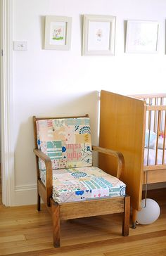 a patchwork chair so cute i could puke