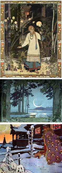 Ivan Bilibin -Russian fairy tales usually include the princess and Babayega, the witch who rides her wooden broom bucket through the sky. I bought this book many years ago, love the illustrations. Ivan Bilibin, Art And Illustration, Fairy Tale Illustrations, Botanical Illustration, Fantasy Kunst, Fantasy Art, Ligne Claire, Russian Art, Russian Folk