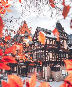 A view of Pelisor Palace peaks through the vibrant hues of Romania's fall foliage. The palace was built per the instruction of King Carol… Earth City, Visit Poland, Destinations, Destination Voyage, All Pictures, Beautiful Images, Palace, Places To Visit, Around The Worlds