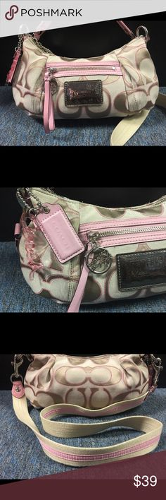 "Authentic COACH POPPY Pink & Tan Signature ""C"" 100% Authentic Coach Poppy. YKK zipper. Nice and clean both inside and out. Comes with a removable long strap. I've seen a couple of listings & both were listed over $100.00, so this is a steal. Cheap enough to buy it, simply as an extra purse. Coach Bags Satchels"