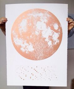NEW Copper 2016 Moon Phases Calendar, 22x30 large screen print also silver gold modern print on black, pink luna lunar wall art space, stars