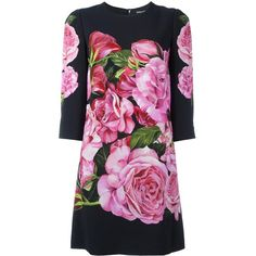 Dolce & Gabbana Longlseeves Roses Dress (108.105 RUB) ❤ liked on Polyvore featuring dresses, black, sport dress, flower print dress, floral shift dress, floral print shift dress and embellished dress