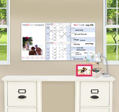 Who says being organized has to be boring? Our fantastic new 3-panel wall system features a magnetic dry erase memo board, 2-month calendar and a week-at-a-glance in a vibrant and stylish personalized design. Give your wall a personality while you give your family order. Each panel measures 11x17 and can hung be in a row (measuring 34x17) or individually. A detachable dry erase pen and 5 coordinating magnets are included.