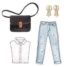 Good objects - Blue jeans, white shirt, céline box bag and Gillian Steinhardt Celestial stud earrings @gilliansteinhardt #gilliansteinhardt #backtobasics #goodobjects