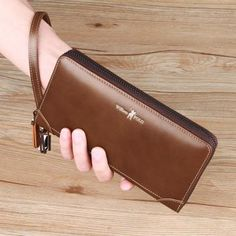 WILLLIAMPOLO 2018 Vintage Leather Long Wallet With Wrist Strip ID Large Wallet, Vintage Leather, Luggage Bags, Card Holder, Letter Tray